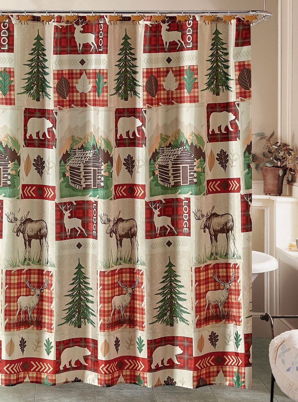 Beatrice Zion Rustic Lodge Cabin Shower Curtain And 12 Resin Hooks