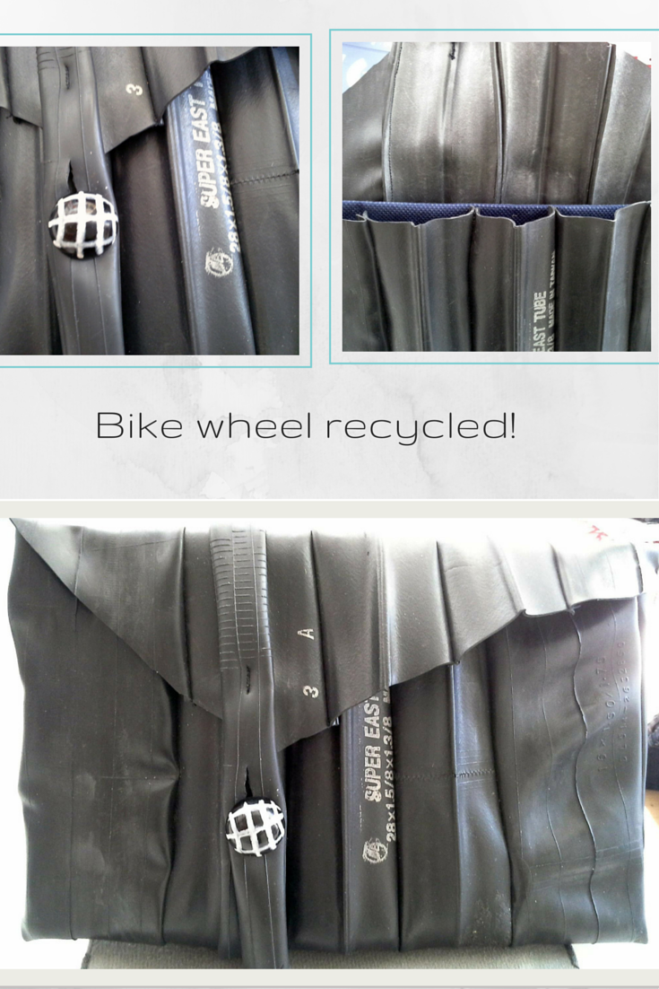 Bike wheel repurposed into a purse #doridesign #art #creativity #reuse #diy #recycle