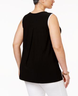 bb148d1370a Alfani Plus Size Contrast-Trim Top