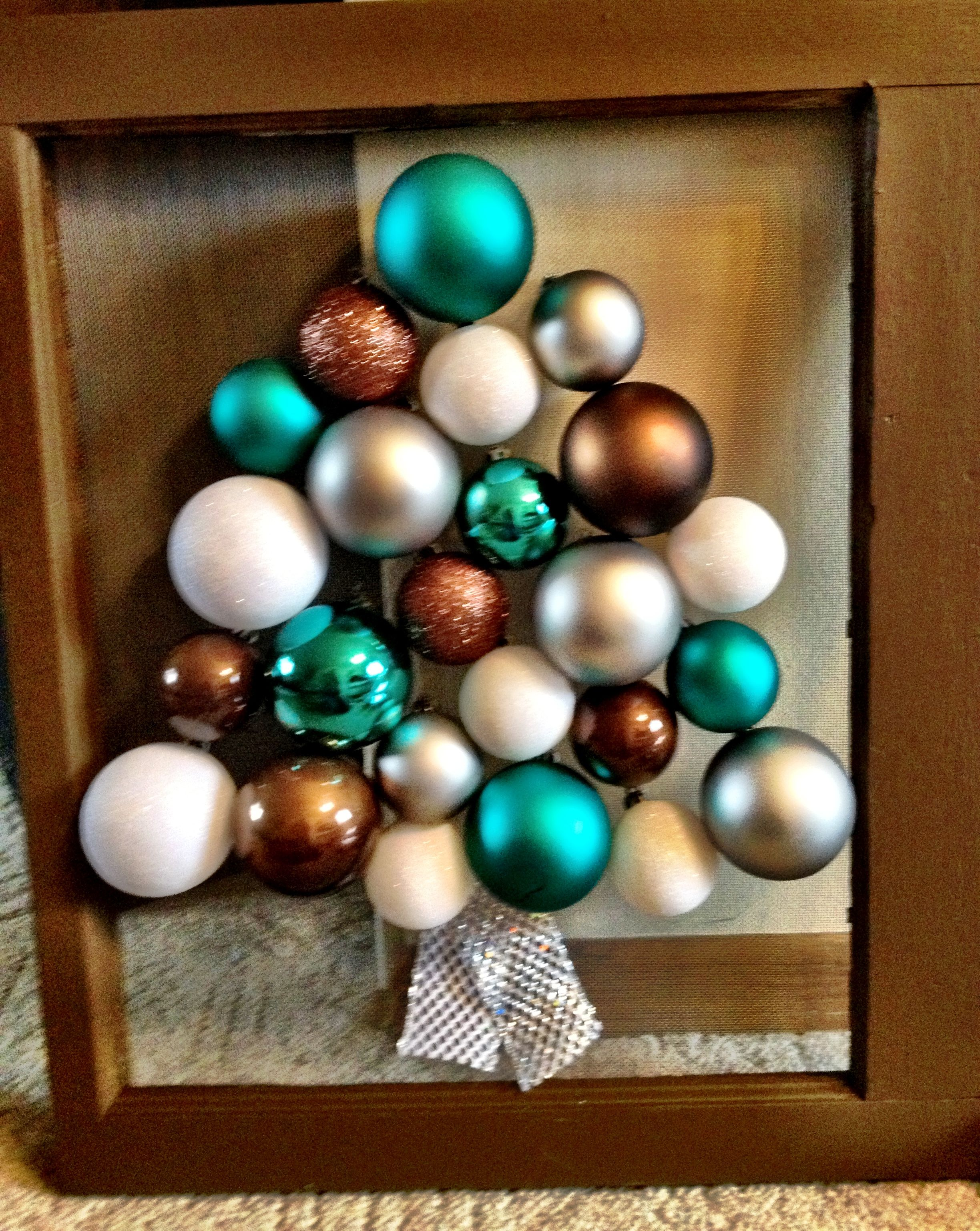 Wooden Window Frame Crafts Sometimes I Get Crafty Christmas Tree Made From Ornaments On An