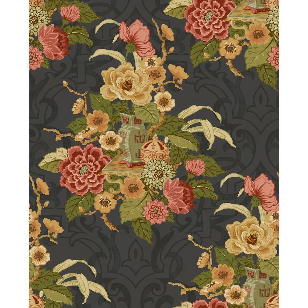 Seabrook Designs Dynasty Metallic Ebony Floral Wallpaper