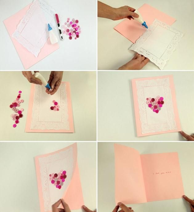 handmade valentines day card tutorial pink buttons kids – Hand Made Valentine Day Cards