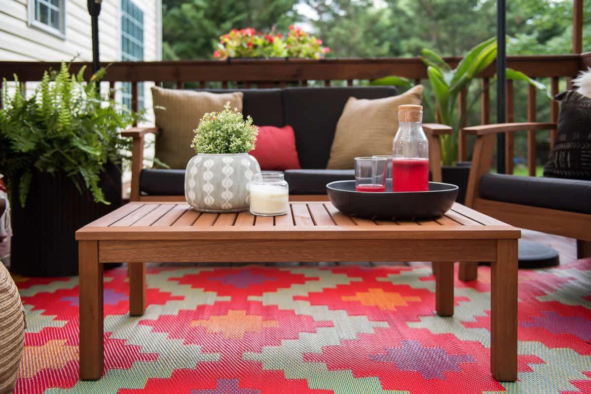 patio decor refresh with bed bath  beyond teak