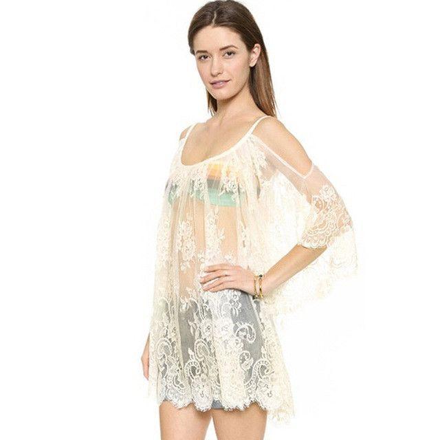 8f68701a11147 Ladies Sexy Lace Swimsuit Dresses Robe Tunique De Plage Beach ...
