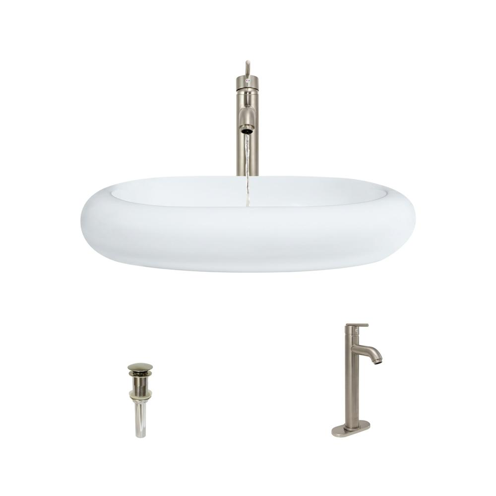 MR Direct Porcelain Vessel Sink in White with 718 Faucet and Pop-Up Drain in Brushed Nickel