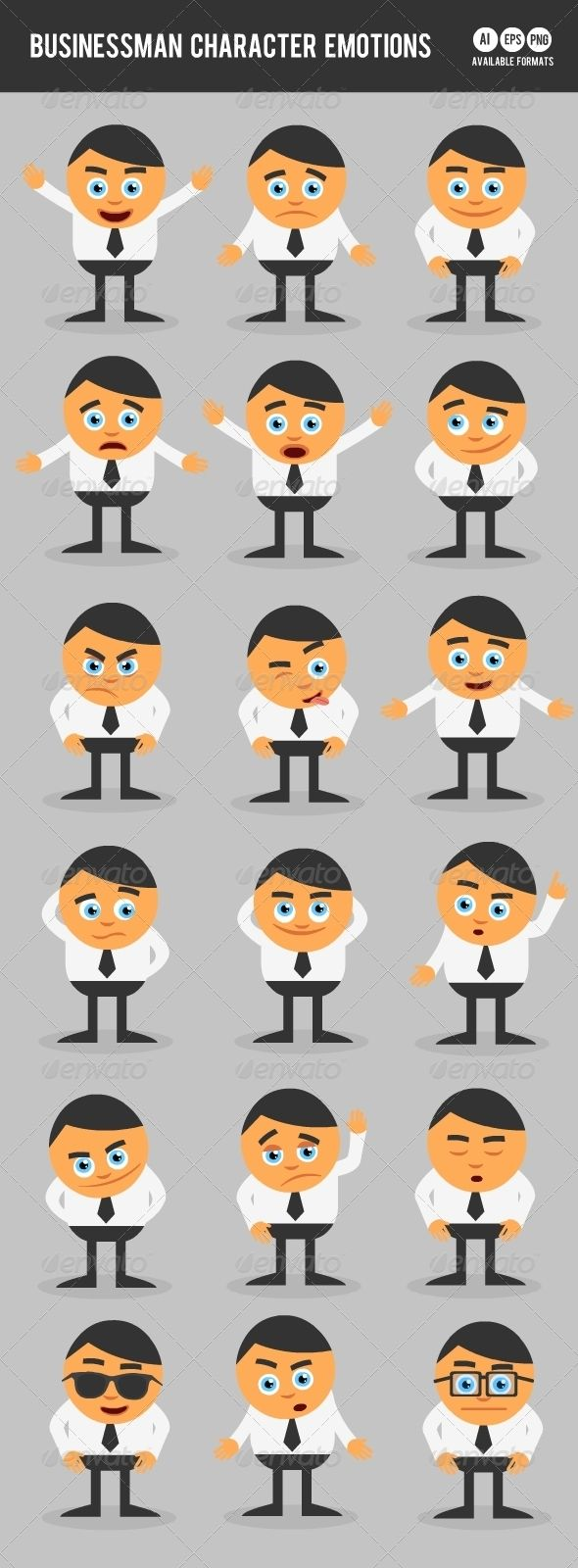 Character Design Emotions : Businessman character emotions graphics and font logo