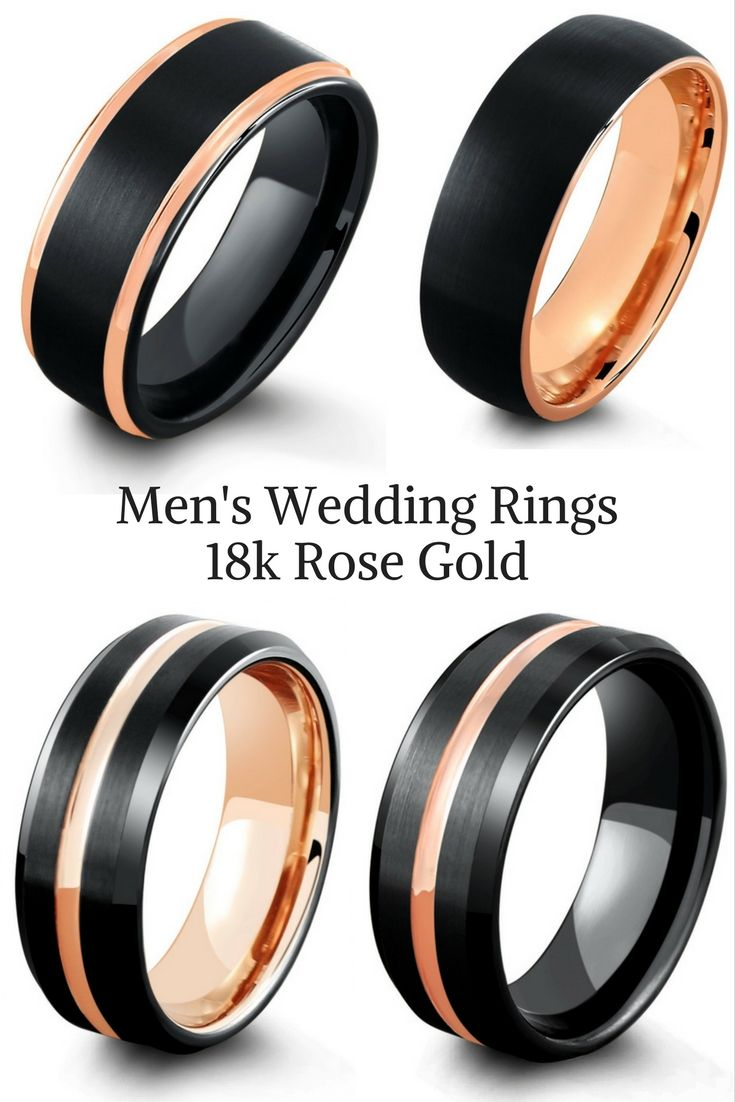 Mens Black Tungsten Wedding Rings With 18k Rose Gold I Love The Combination Of These Modern Black Tungsten Wedding Ring Mens Wedding Rings Cool Wedding Rings