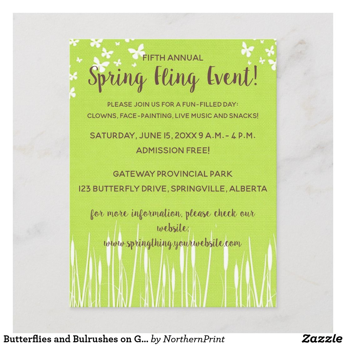 Butterflies And Bulrushes On Green Invitation Zazzle Ca