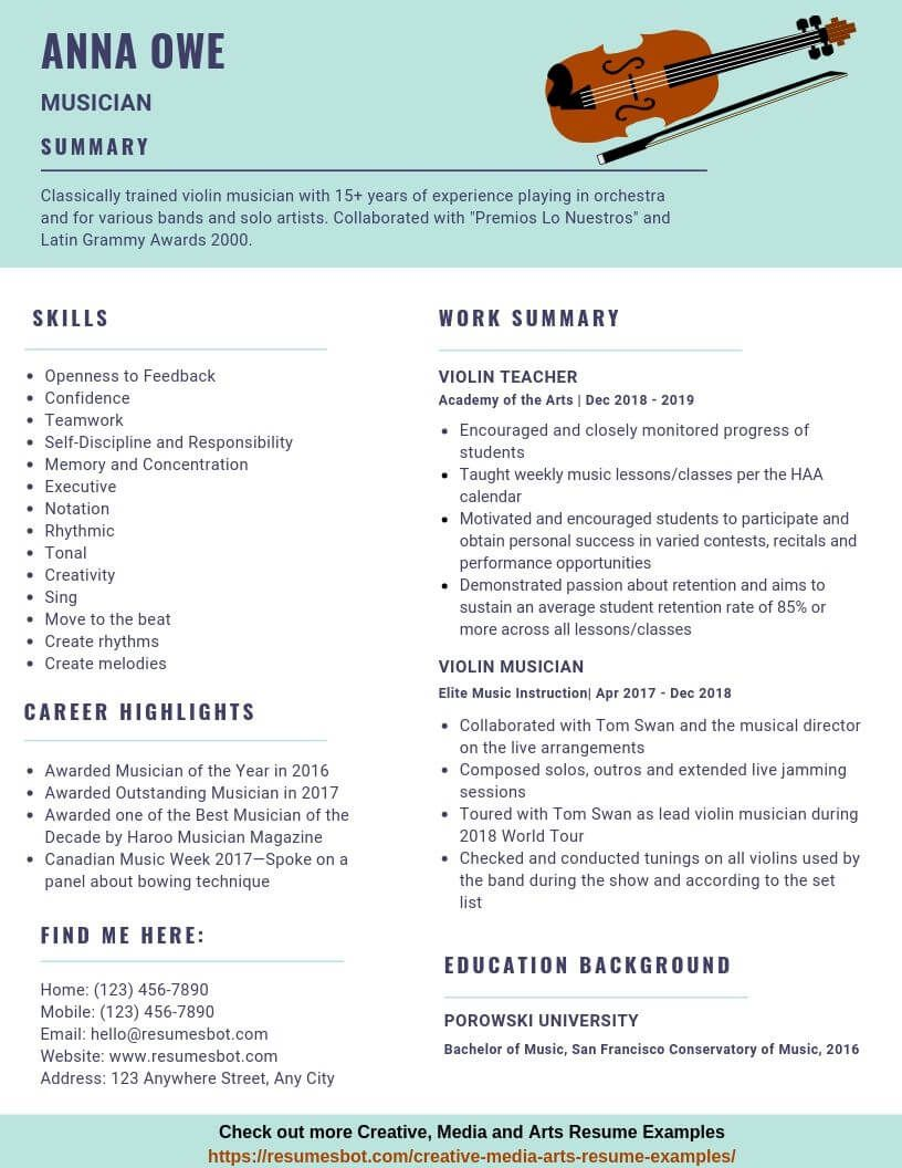 Musician Resume Samples Templates Pdf Doc 2021 Musician Resumes Bot Resume Examples Free Resume Examples Resume Template Examples