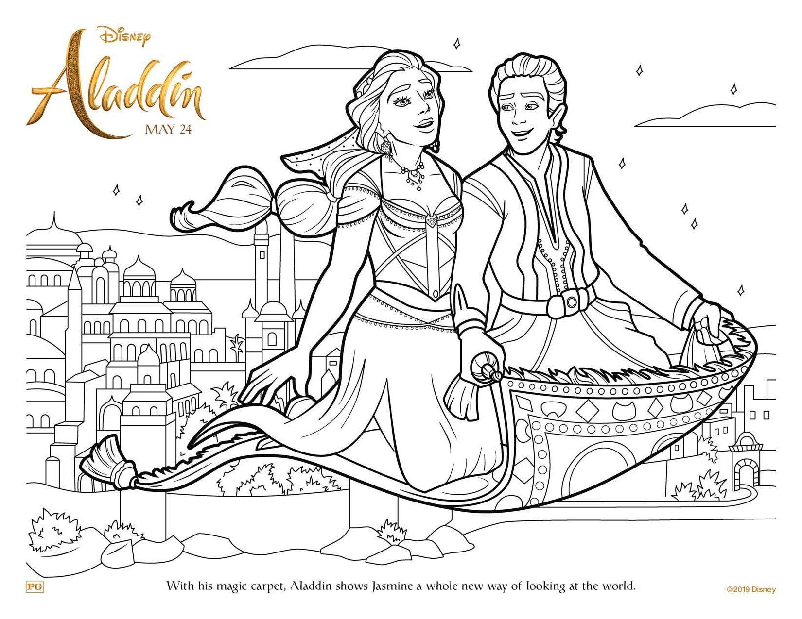 Aladdin Free Coloring Sheets To Print From Home From Disney Disney Princess Coloring Pages Coloring Pages Free Disney Coloring Pages