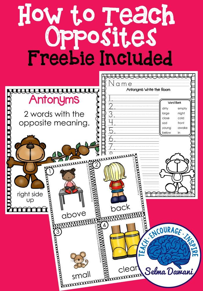 How to teach kids opposites / antonyms - list of antonyms ready to use and also a free download to use in your homeschool  or classroom