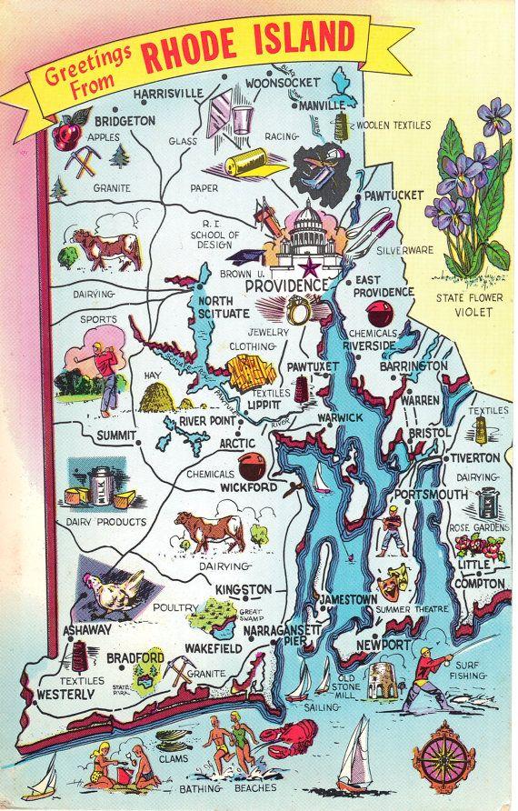 Rhode Island State Map Vintage Postcard Greetings | USA | Pinterest ...