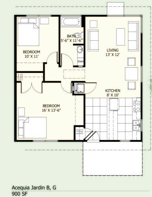 Casa pequena com 2 quartos proyecto de casa en 2019 for Planos de casas pequenas de una planta
