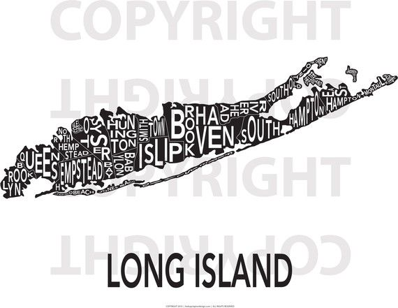 Long Island Wall Art urban neighborhood poster - long island - 24 x 36 inverse | long