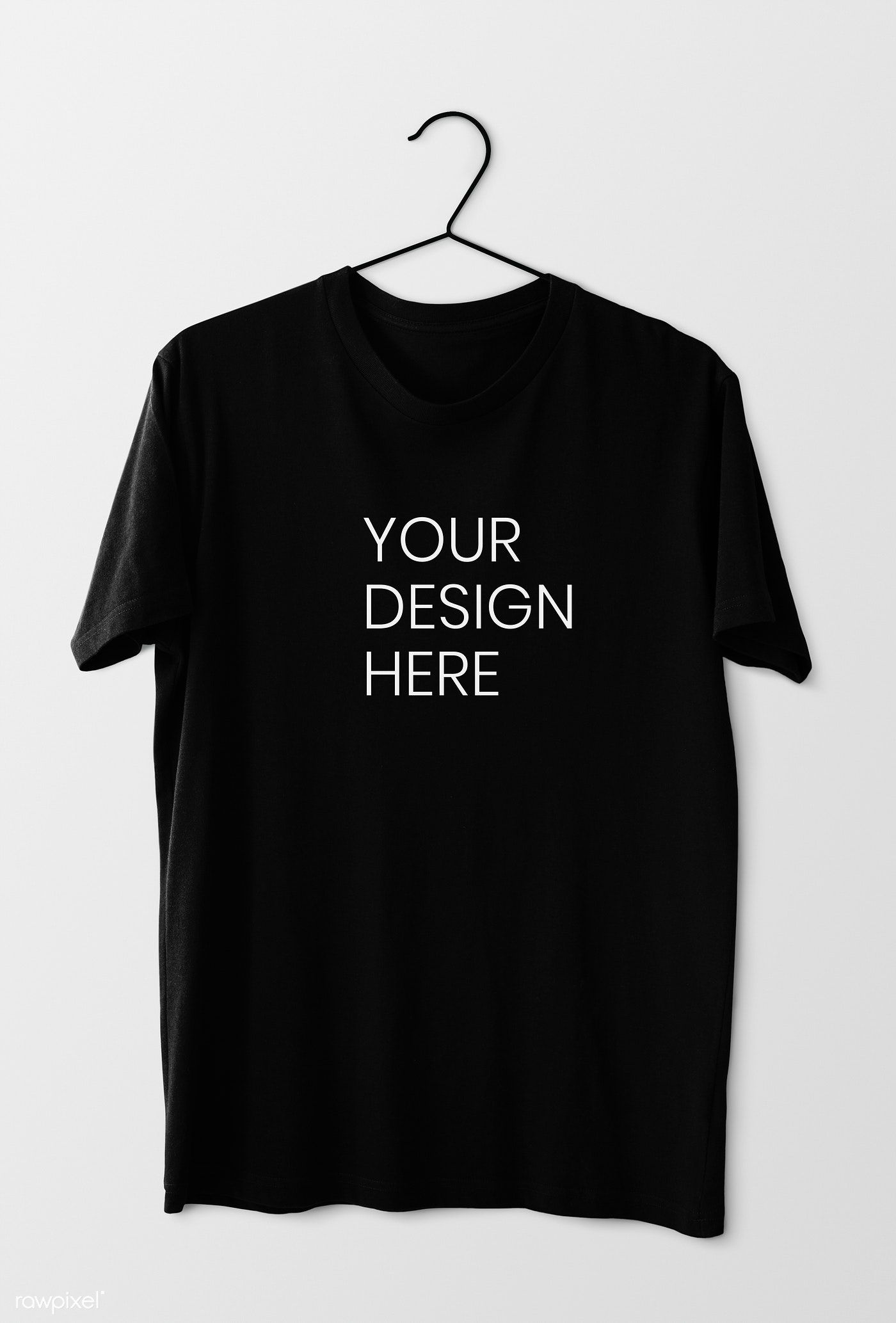 Download Simple Black Tee Mockup On A White Wall Premium Image By Rawpixel Com Black Tee T Shirt Photo Printing Plain Black Tee