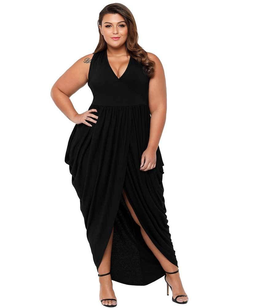 Black V neck draping ruffle plus size maxi dress   Curvy   Plus size ...