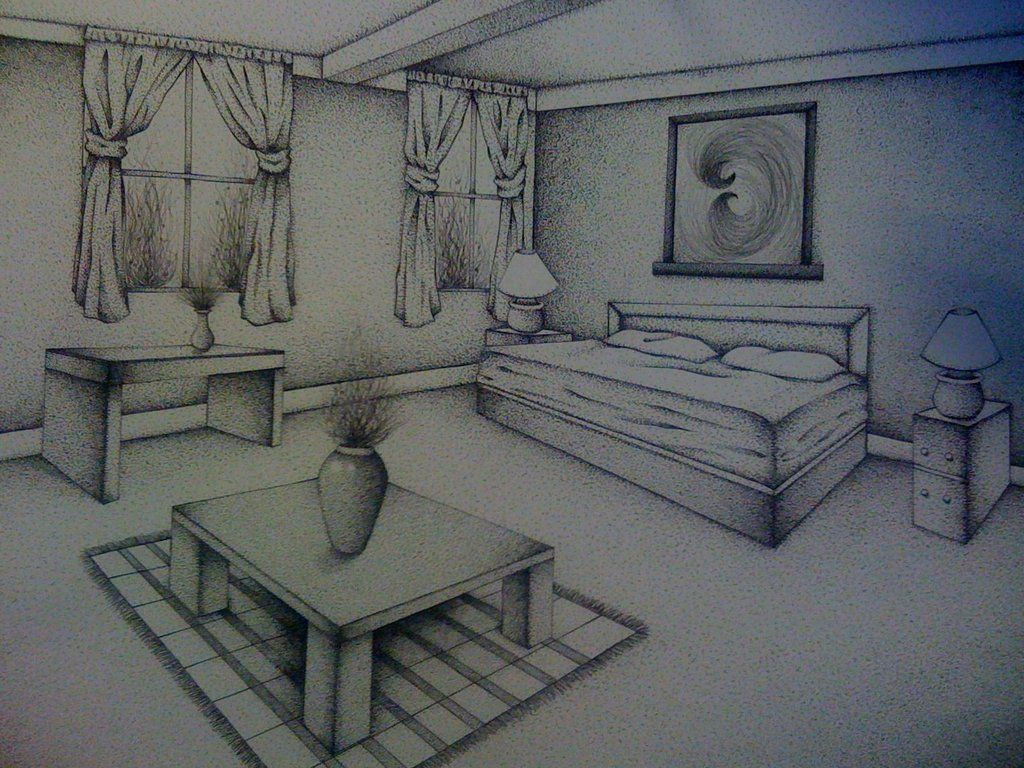 Bedroom drawing perspective - Two Point Perspective Room By Senx28 On Deviantart