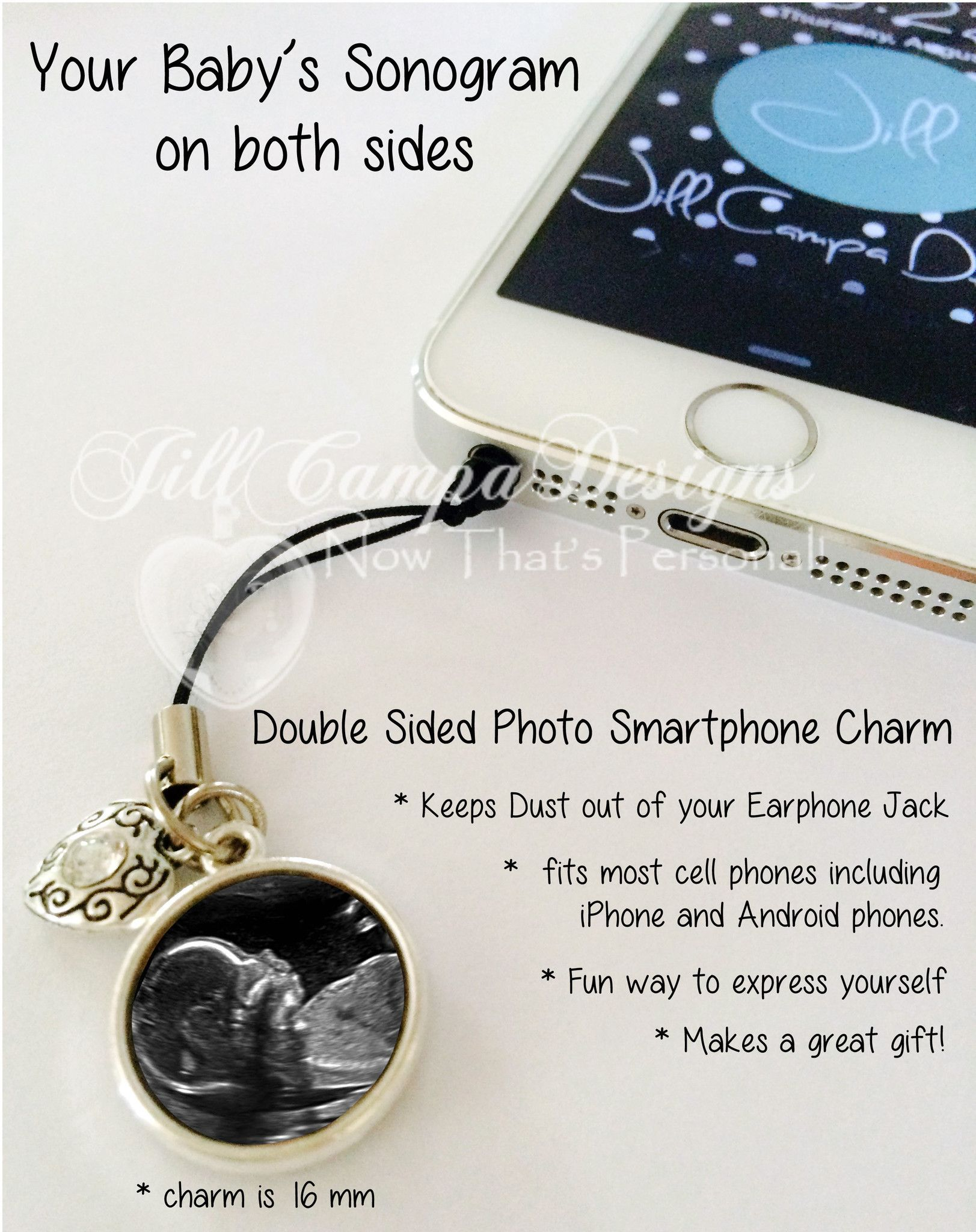 Your Baby's Sonogram cell phone charm/dust plug This would make such a wonderful gift for the ...