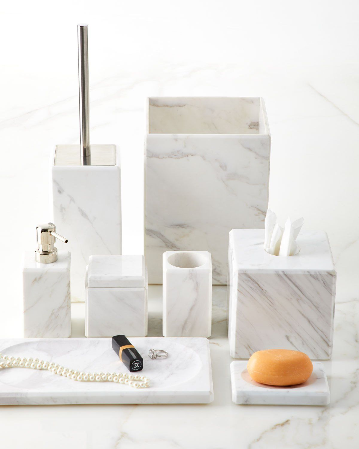 Marble Wastebasket A Place To Call Home Marble Countertops Bathroom Bath Accessories Marble Tile Bathroom
