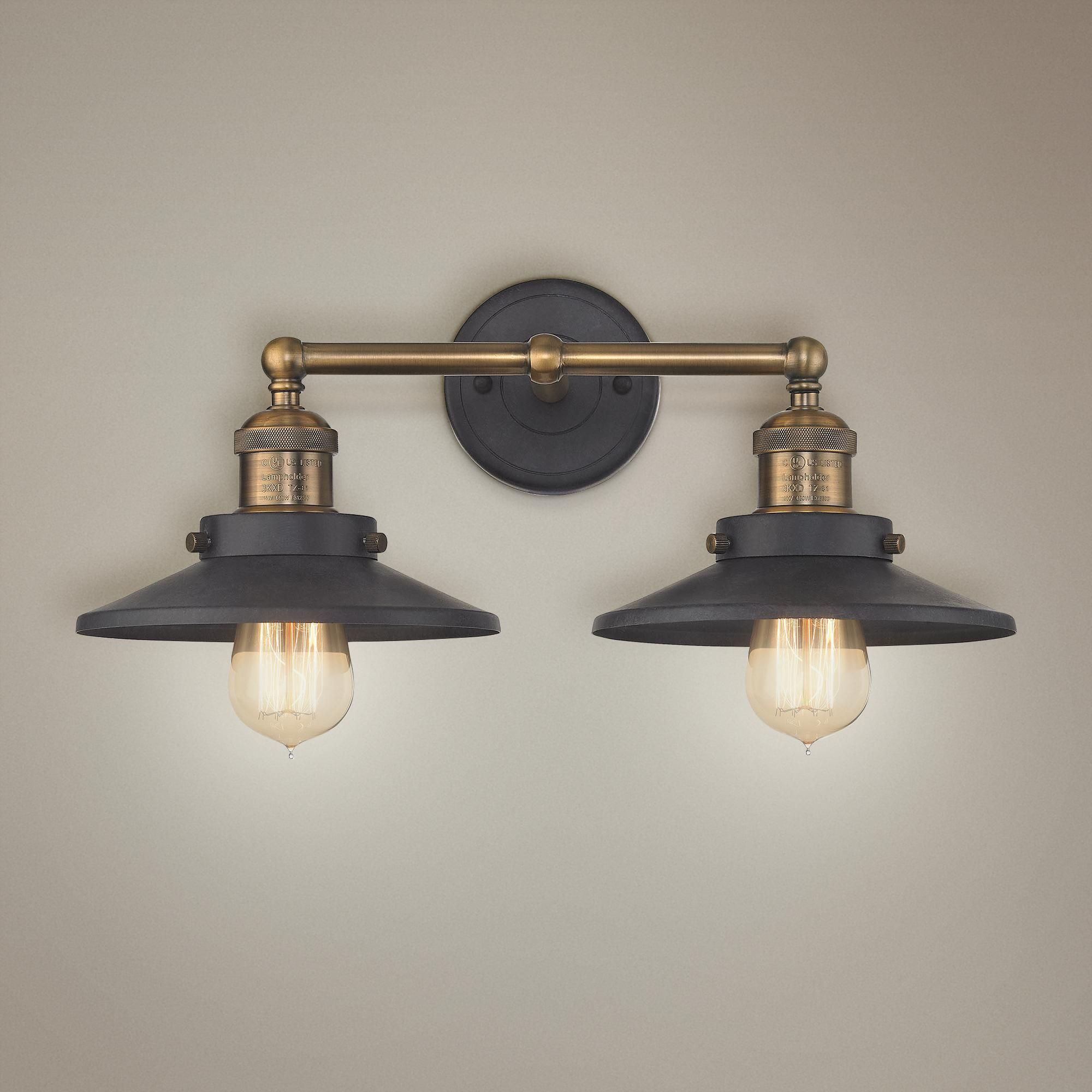 Photo of English Pub 18 Inchw Brass And Tarnished Graphite Bath Light