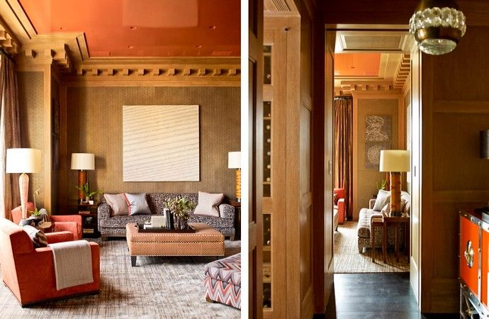 Transitional living room with orange wall