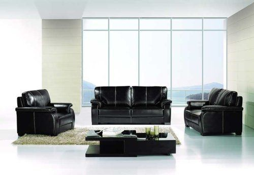 New 3pc Contemporary Modern Leather Sofa Set Am 299 B Black By