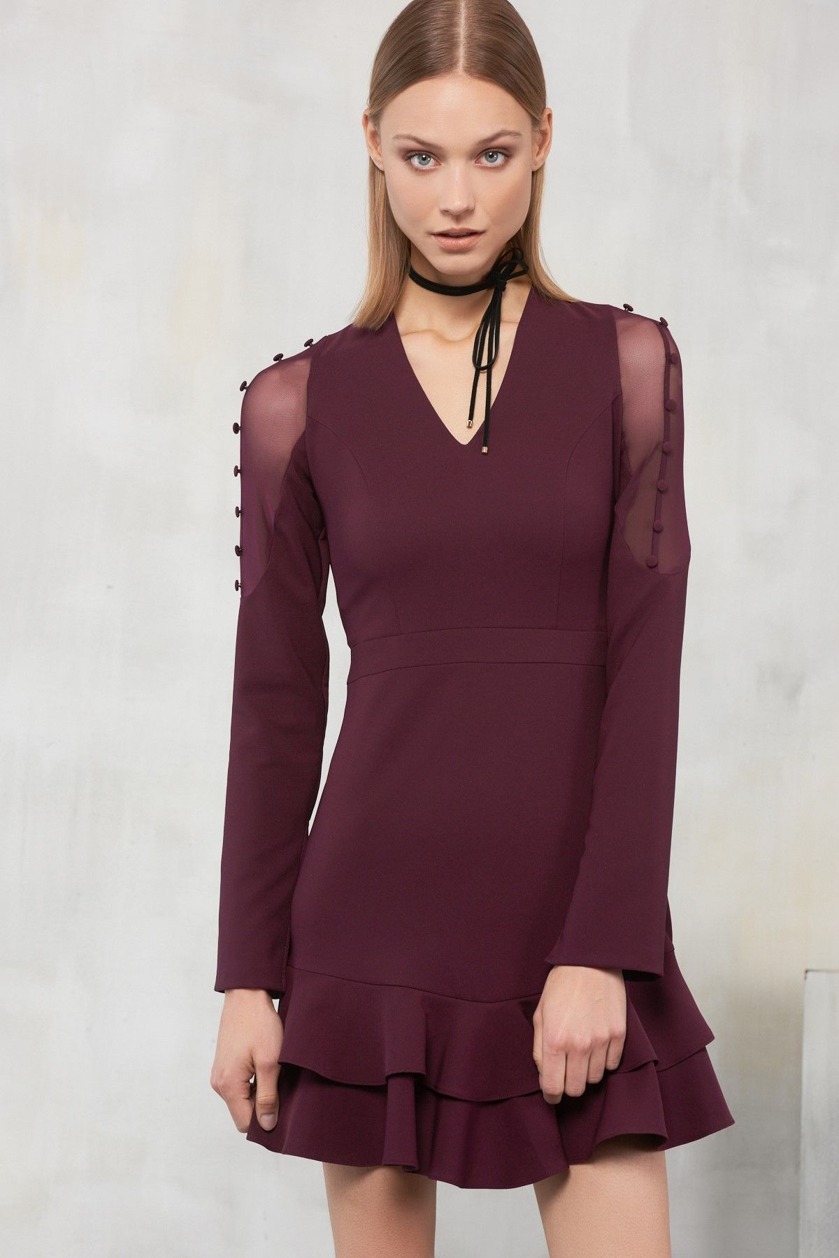 295b23ae207cd Mürdüm Kolları Düğme Detaylı Elbise TRENDYOLMİLLA   Trendyol   cloth ...