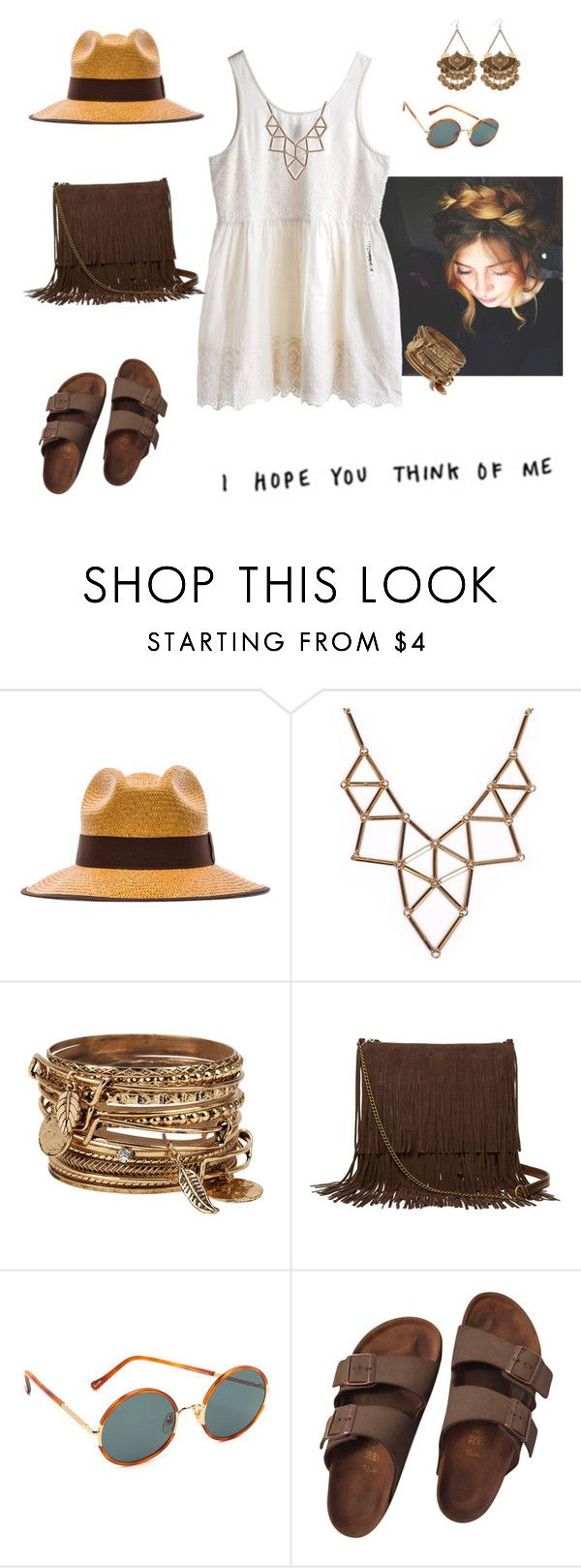 """""""I hope you think of me"""" by mrsfreespirit ❤ liked on Polyvore featuring MTWTFSS Weekday, Artesano, Chicnova Fashion, ALDO, T-shirt & Jeans, Sunday Somewhere and Birkenstock"""