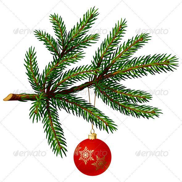 Pine Tree Branch With Christmas Ball Christmas Tree Branches Ribbon On Christmas Tree Branch Drawing