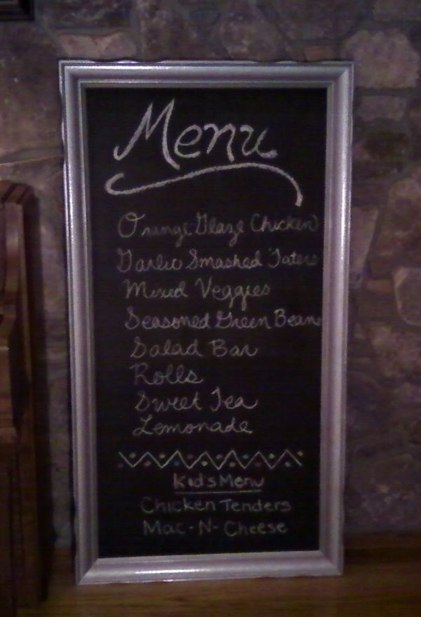 Menu Board. Old picture in frame. Painted the picture with ...