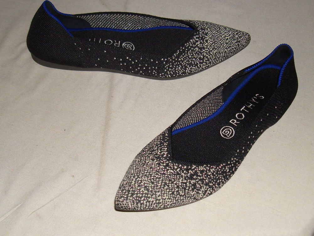 b824e4bf049b NWOB Rothy's Point Black/White Sparkle Loafers, Size 9.5 #Rothys #Loafers