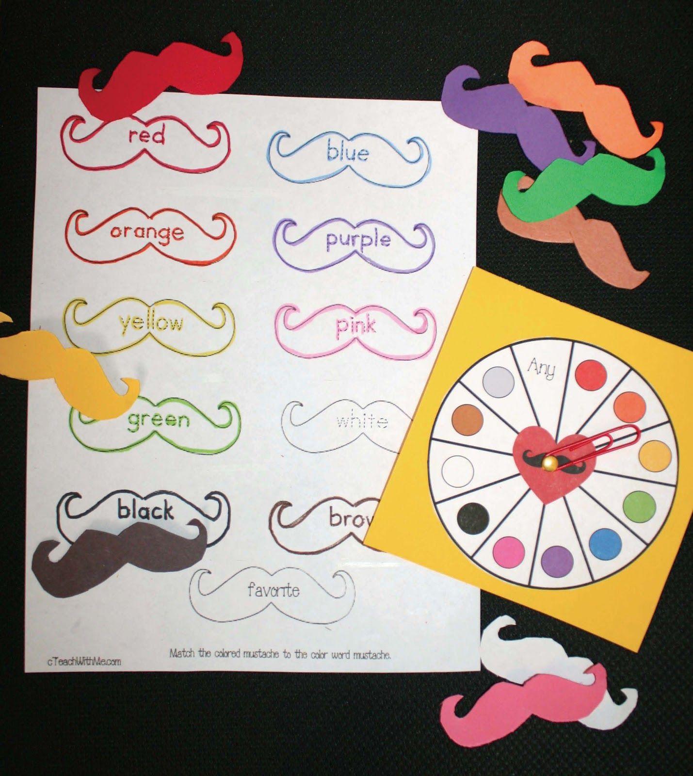 Mustache Color Activities