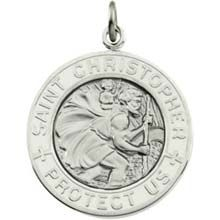 05b42955e8e White Saint Christopher Round Enamel Solid Sterling Silver Protect Us  Necklace - All Patron Saints