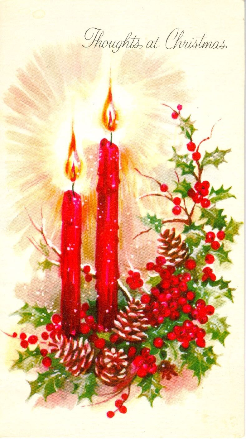 Christmas greeting candles holly retro