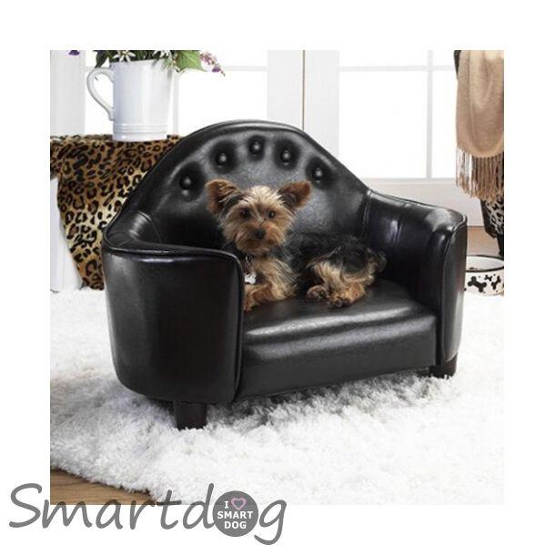 Design Hundesofa i sort læder