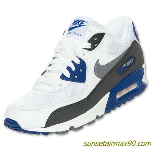 Nike Air Max 90 Essential Mens White Cool Grey Deep Royal Blue