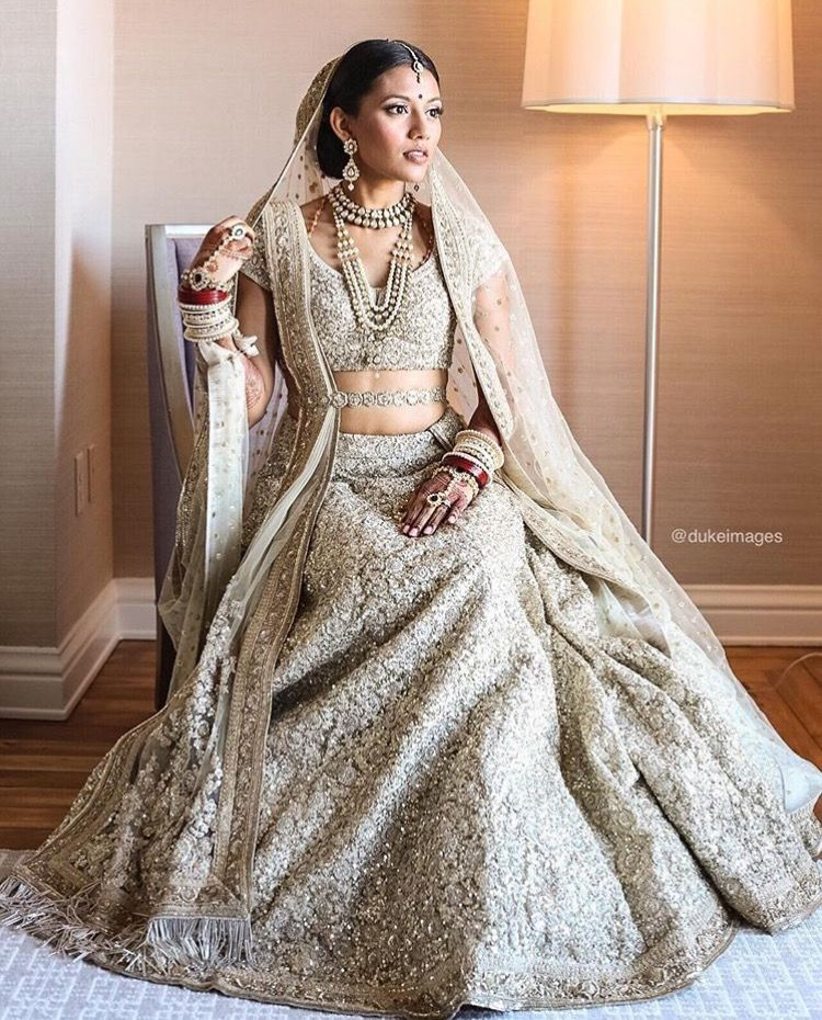 Metallic Indian bridal lehenga, desi bride, modern bride ...