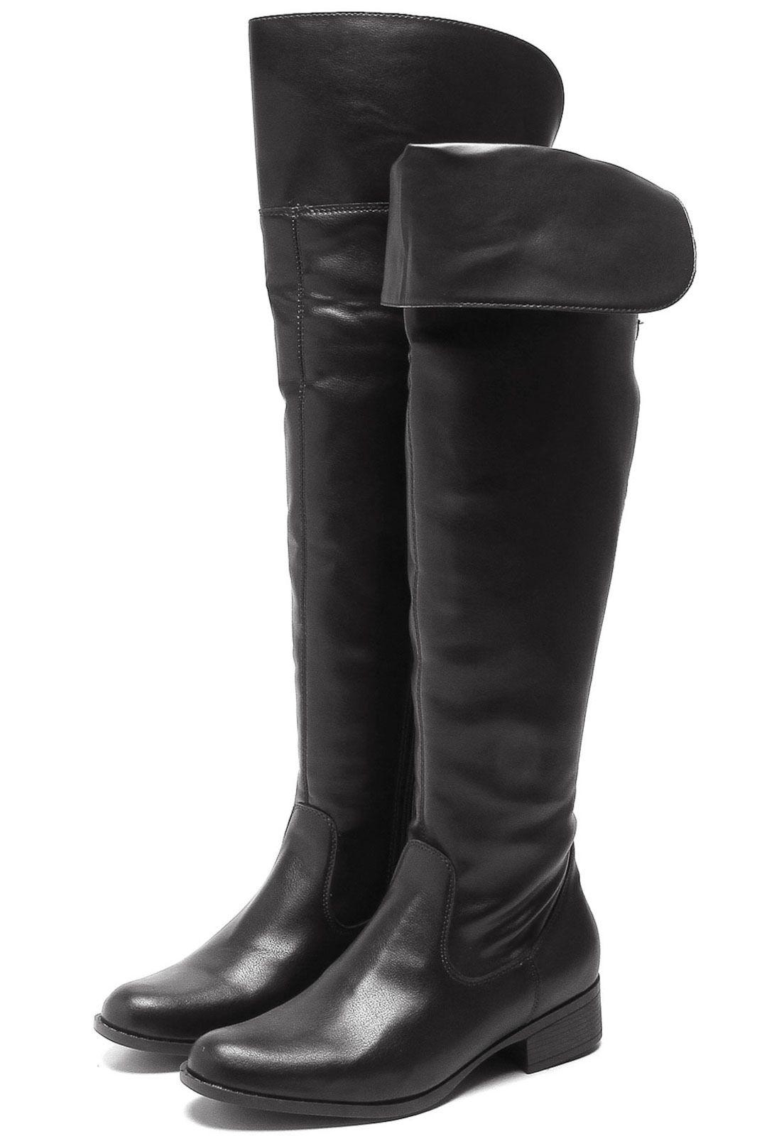64a4c5759 Bota Over The Knee VIA UNO Salto Grosso Preta em 2019 sapatos