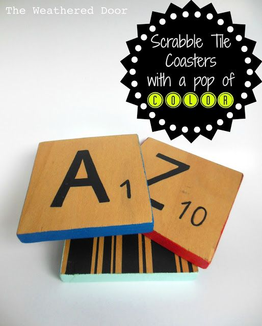 The Weathered Door: Reversible scrabble tile coasters with a pop of color