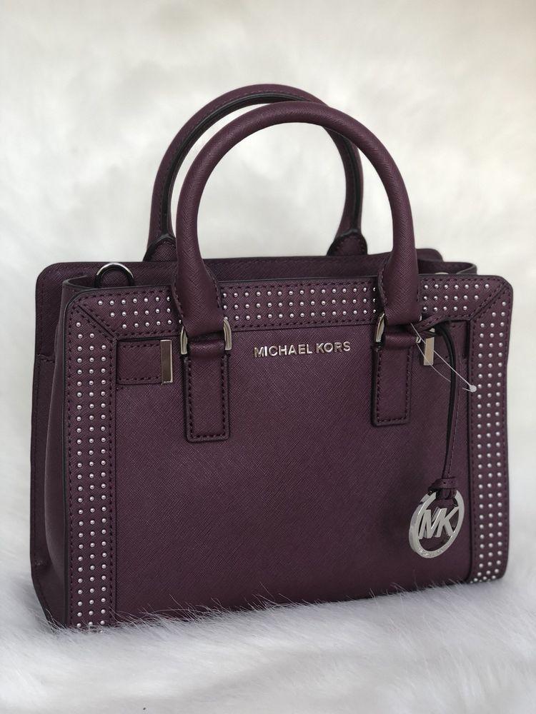 Michael Kors Micro Stud Dillon Small Leather Satchel Crossbody Plum Ebay Handbags