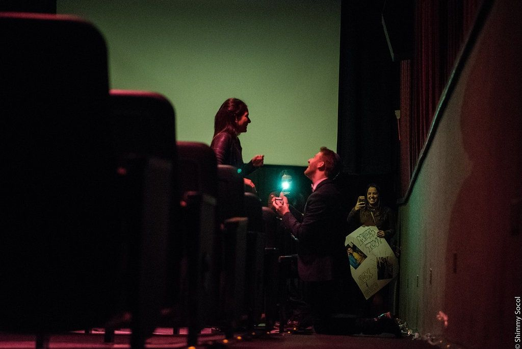 Alex And Elishas Movie Theater Proposal On Howheasked Proposals