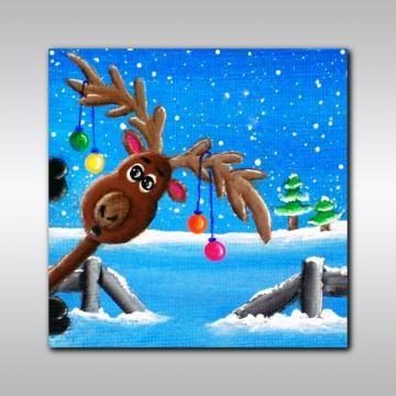 """Holiday Print: """"Photo-Bombing Reindeer"""" 8"""" x 8"""" Christmas Wall Decor - Reindeer Print - Christmas Decor - Christmas Wall Art - Funny Print by ColourInMotion for $12.00"""