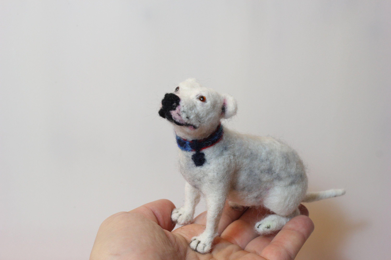 Bolognese felted pet portrait Bichon Havanese laying sculpture Needle felted dog sculpture