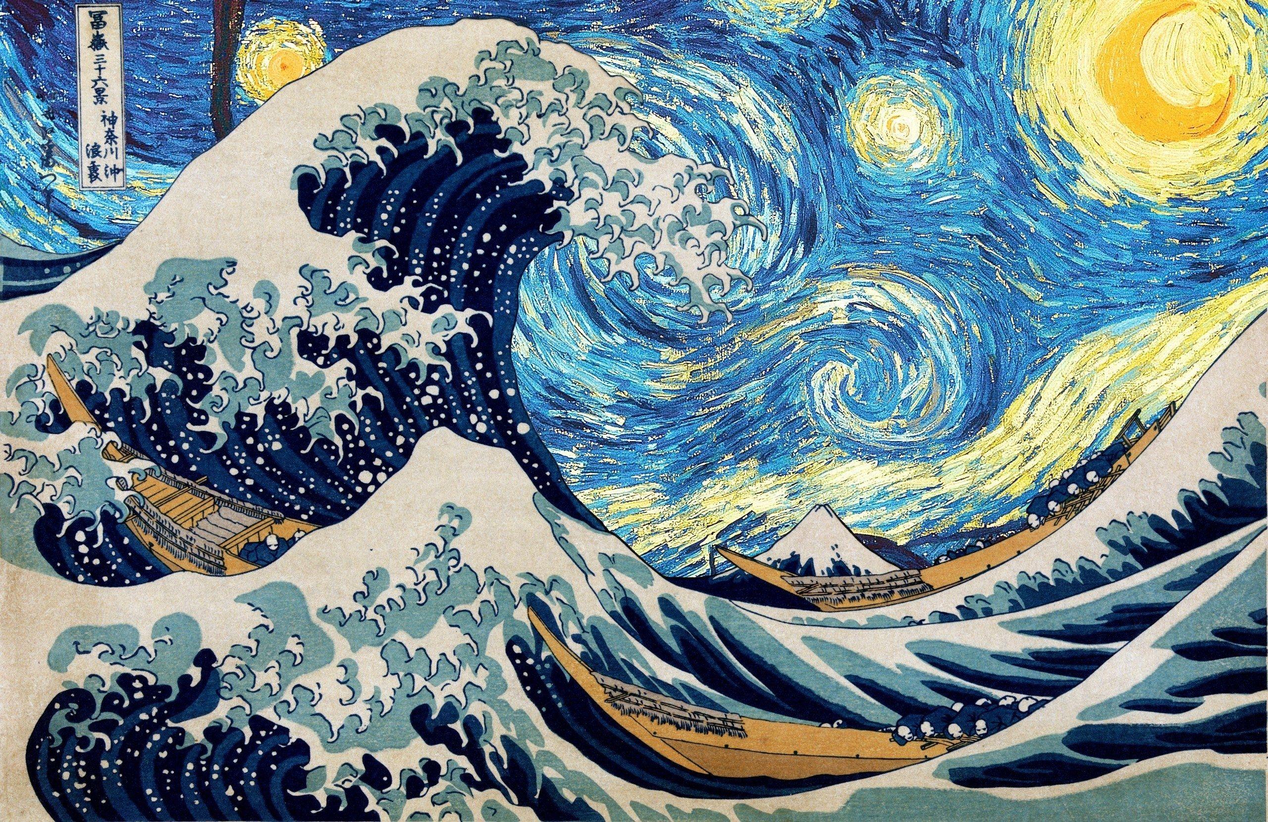 The Great Wave Of Kanagawa Starry Night Hd Wallpaper Starry Night Wallpaper Van Gogh Wallpaper Desktop Wallpaper Art