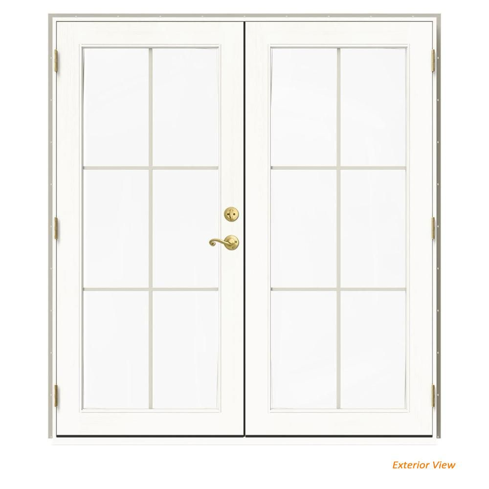 Jeld Wen 72 In X 80 In W 2500 Desert Sand Clad Wood Right Hand 6 Lite French Patio Door W White Paint Interior French Doors Patio Patio Doors Interior Paint