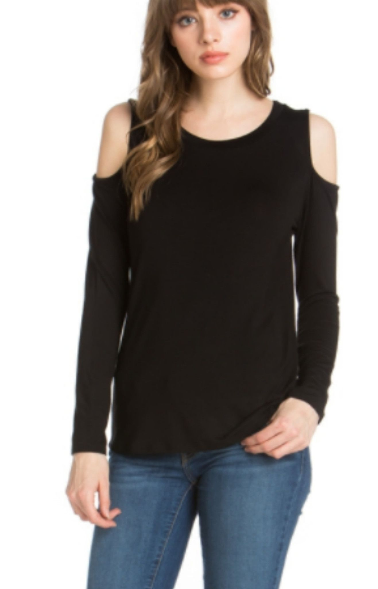 330cb9c5ffe Black Fitted Cold Shoulder Long Sleeve Blouse | Tops | Moda