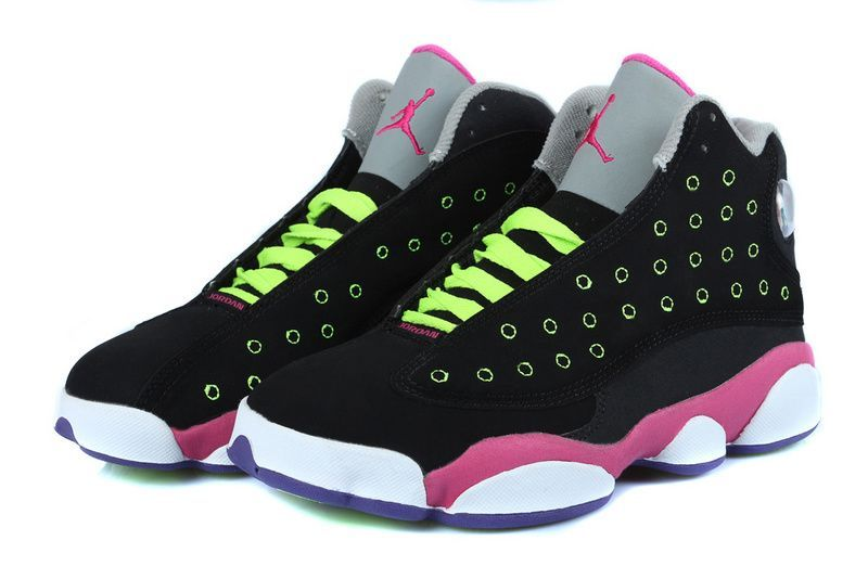 Girls Air Jordan 13 Retro Black-Pink/Venom Green For Sale | Jordan .