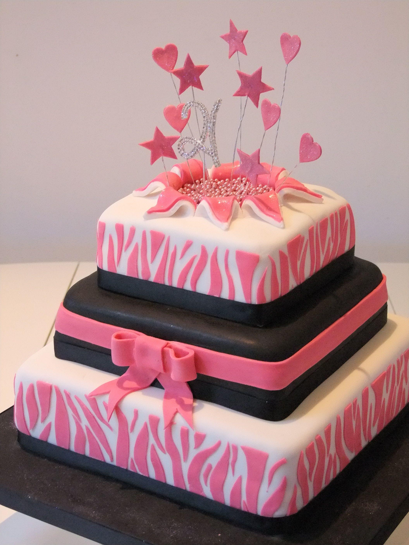 Pink Black White Zebra Print Exploding 21st Birthday Cake