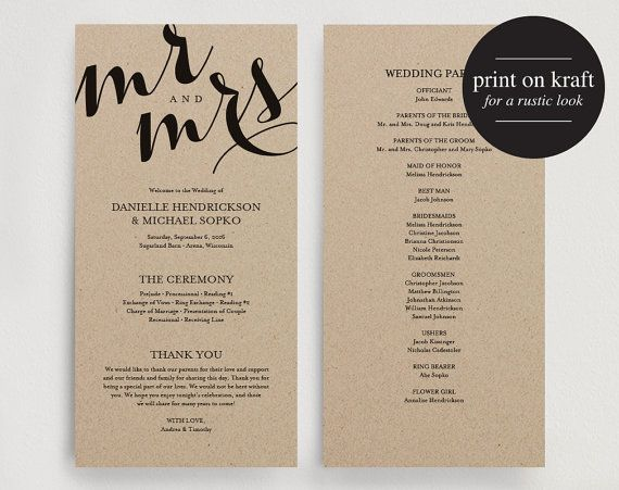 Wedding Program Printable Template Kraft DIY Editable PDF Instant Download BPB133 3