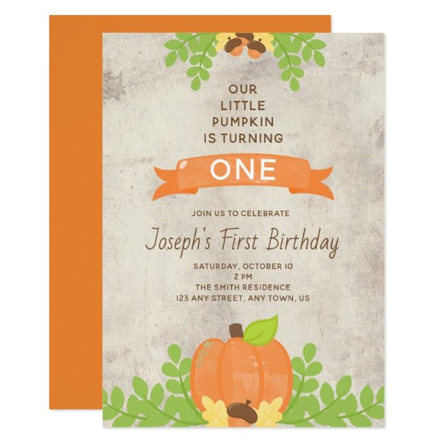 Rustic Boys Our Little Pumpkin Acorns 1st Birthday Invitation Worldwideinternational shipping available